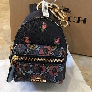 NWT COACH Blue Keychain Charm Backpack F58553